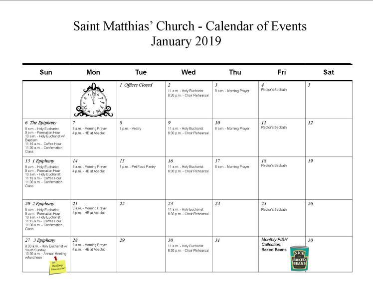 Jan calendar-2019
