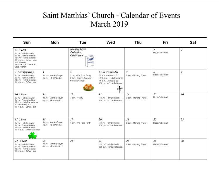Mar calendar-2019