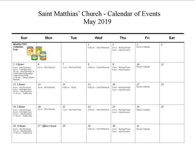 May calendar-2019