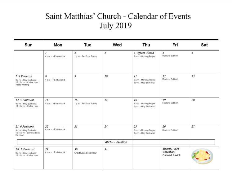 Jul calendar-2019